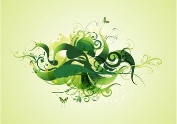 Green Swirling Plants - vector gratuit #153067