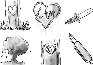 Heart Carved Tree Watercolor Vector Set - Free vector #153097