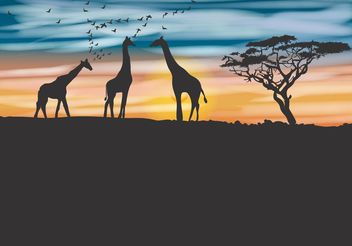 Acacia Tree and Giraffe Vector Background - vector gratuit #153127