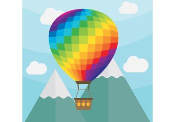 Hot Air Balloon Vector Landscape - vector gratuit #153187