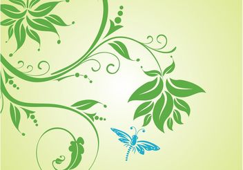 Insect With Flowers - vector gratuit #153297