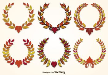 Autumn Leaf Wreath Vectors - Free vector #153437