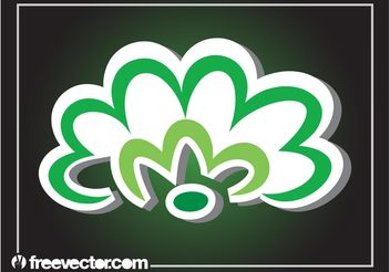 Green Flower Sticker - Free vector #153487