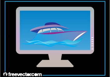 Yacht On Computer Monitor - Free vector #153527