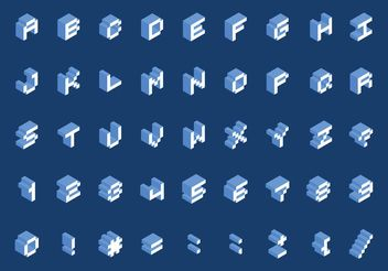 Free Isometric Pixel Font Vector - Free vector #153607