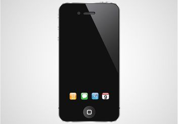 iPhone With Dock Icons - Free vector #154327