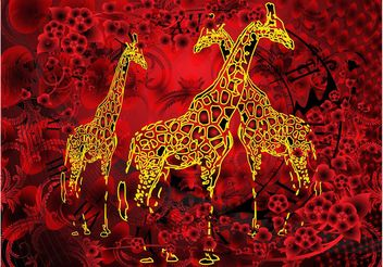 Giraffes Artwork - Free vector #155227