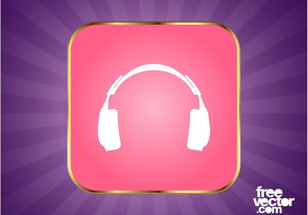 Headphones Button Graphics - Free vector #155407