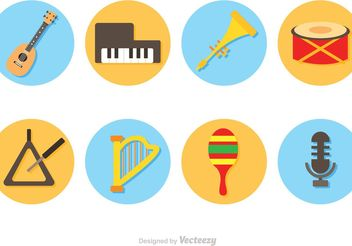 Vector Music Instruments Circle Icons - Free vector #155487