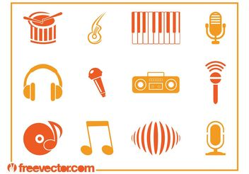 Music Icons Vectors - Free vector #155667