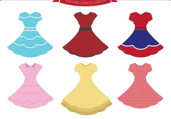 Square Dance Dress Vectors - vector gratuit #155737