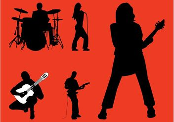 Rock Band Silhouettes Graphics - Free vector #155857