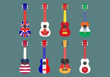 Flag Themed Ukelele Vector Set - Kostenloses vector #155997