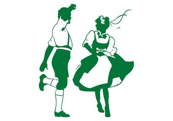 Dancing German People - vector gratuit #156317
