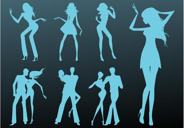 Dancing Girls And Couples - Free vector #156347