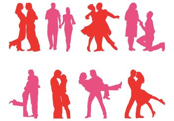Couple Silhouettes Set - vector gratuit #156367