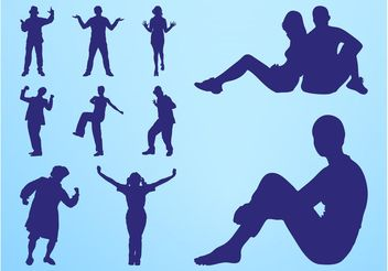 People Silhouettes Fun - vector gratuit #156377