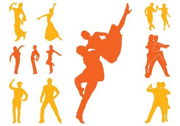 Latin Dancers Silhouettes - Free vector #156387
