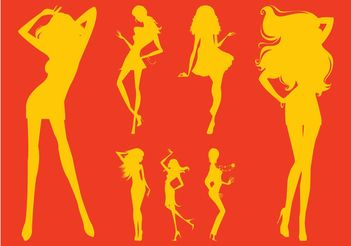 Party Girl Silhouettes - vector gratuit #156397