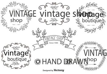 Hand Drawn Label Set - vector gratuit #156577