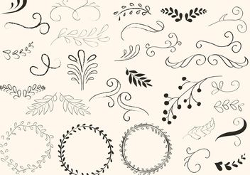 Hand Drawn Swirls and Wreath Vectors - Free vector #156597