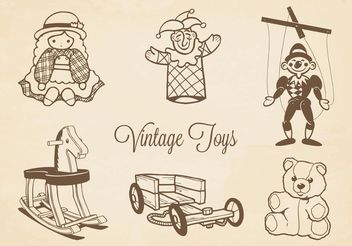Free Vector Drawn Vintage Toys - vector gratuit #156637