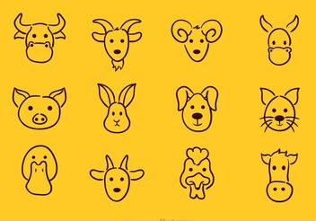 Vector Animal Face Drawing Icons - vector gratuit #156667