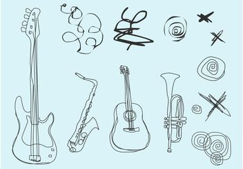 Musical Doodles - vector gratuit #156697