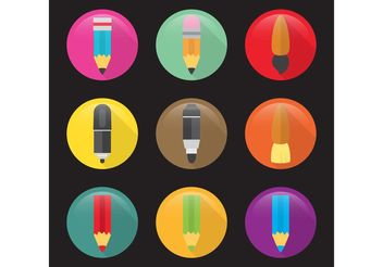 Flat Art Vector Icons - Free vector #156967