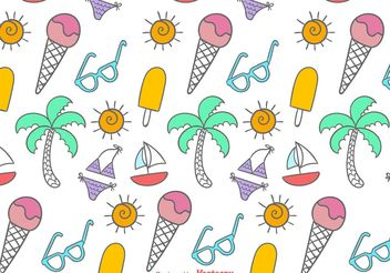 Doodles Beach Time Pattern - vector #157307 gratis