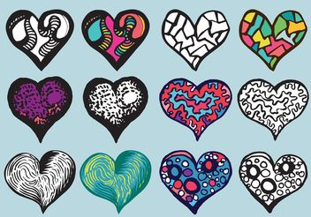 Free Doodle Heart Vector Set - Free vector #157577