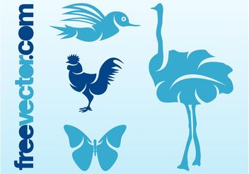 Birds And Butterfly - Free vector #157627