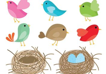 Birds In Nest Vector - vector gratuit #157637
