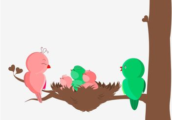Bird Family Vector - Free vector #157677