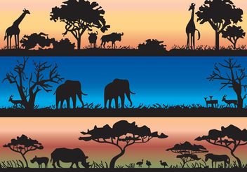 Vector Silhouettes With African Wild Animals and Acacia Trees - vector gratuit #157707