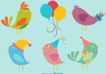 Birthday Birds Illustrations - бесплатный vector #157737
