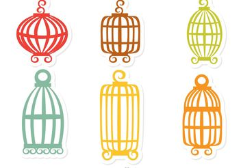 Colorful Vintage Bird Cage Vector - Free vector #157797