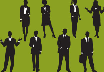 Woman And Man Business Silhouettes - vector gratuit #157817