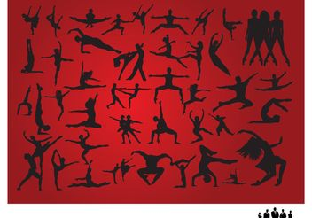 People Dancing Silhouettes - vector gratuit #157917