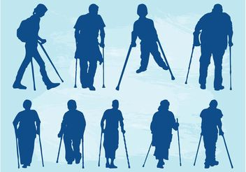 People With Crutches - vector gratuit #157937