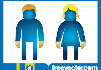 Man And Woman Icons Graphics - Free vector #157947
