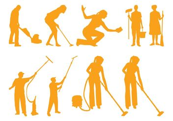 Cleaning People Silhouettes - vector gratuit #157957