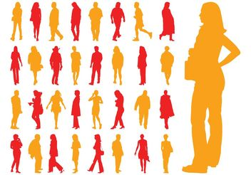 Walking People Silhouettes Set - vector gratuit #157967