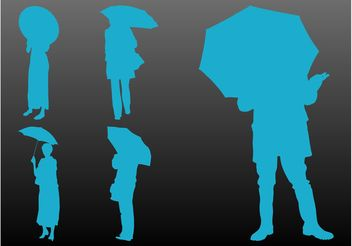 People With Umbrellas - vector gratuit #158017