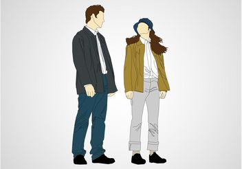 Talking Man And Woman - vector gratuit #158037