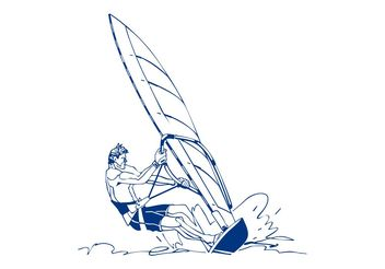Windsurfing Man Design - Free vector #158097