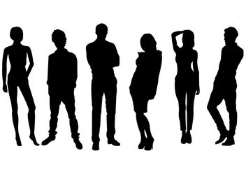 Men and Women Silhouette Vector Set - Free vector #158177