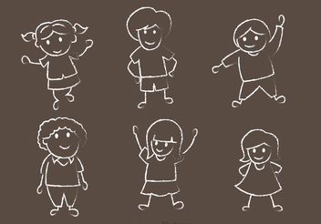 Happy Kids Chalk Drawn Vector Pack - Free vector #158197
