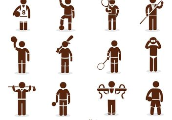 Sport Stick Figure Icons Vector Pack - бесплатный vector #158297