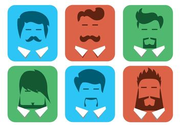 Free Vector Male Avatars with Beards - Free vector #158317